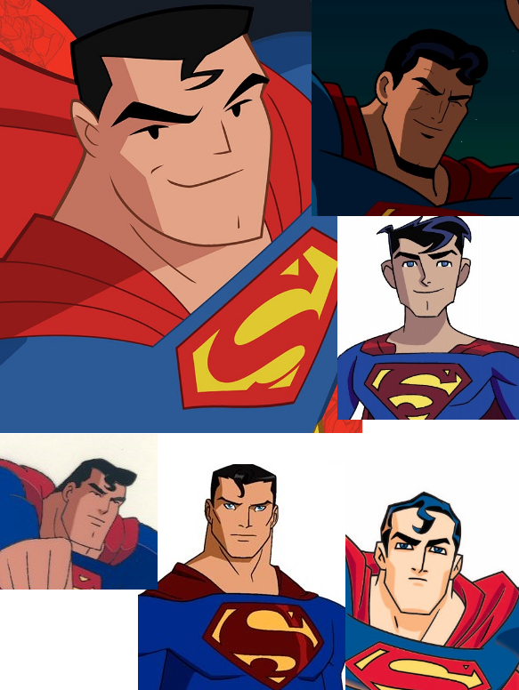 (Top) JLAction, Brave and the Bold, Legion of Superheroes (Bottom) Superman TAS, Young Justice, The Batman